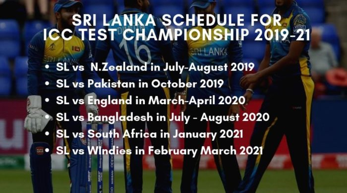 ICC Test Championship Schedule of Sri Lanka