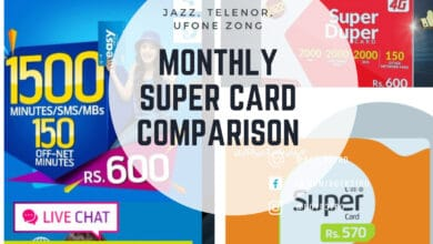 Photo of Monthly Super Card Comparison of Jazz, Ufone, Telenor & Zong