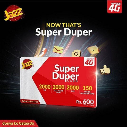 Monthly Super Card Comparison of Jazz, Ufone, Telenor & Zong